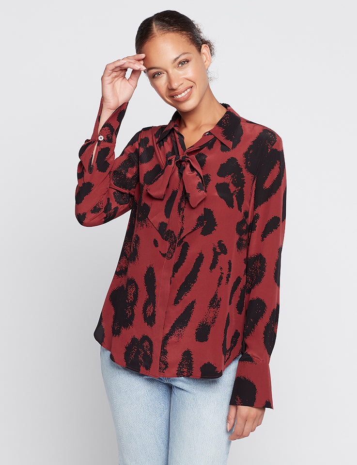 Perfect Silk Shirt - Persian Red Leopard