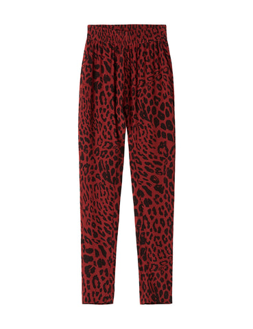 Silk Slouch Pant - true blood leopard
