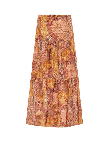 Silk Tiered Maxi Skirt - Persian Rug Satin