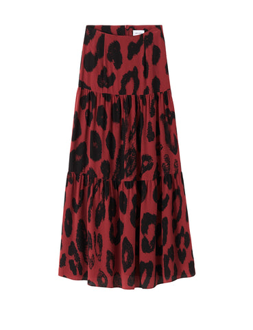 Silk Tiered Maxi Skirt - Persian Red Leopard