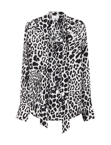 The Perfect Silk Shirt with optional necktie - Leopard Onyx