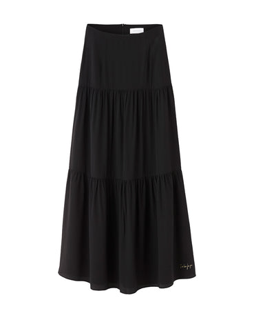 The Silk Tiered Maxi Skirt - Black