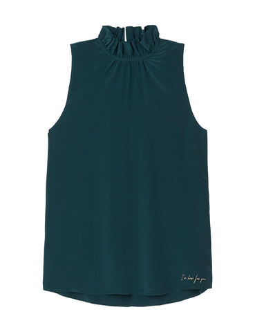 Silk Frill Neck Top -Ocean Green