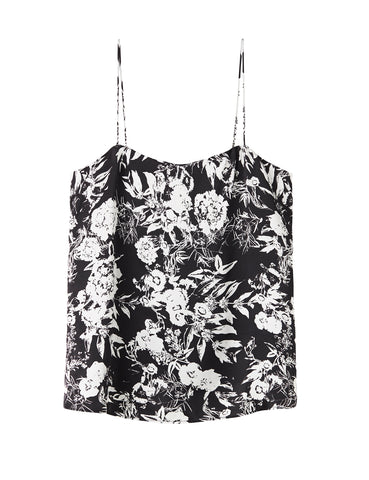Relaxed Silk Camisole - black satin hydrangea