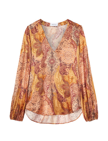 V Neck Silk Blouse - Persian Rug Satin