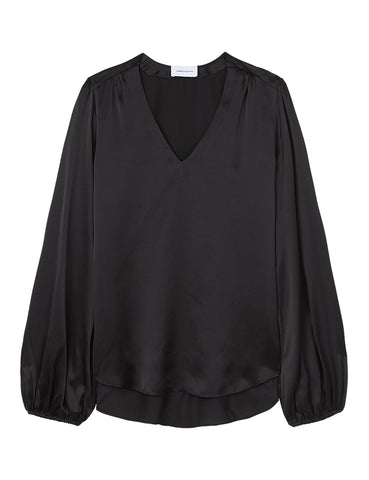 V Neck Silk Blouse - Black Satin