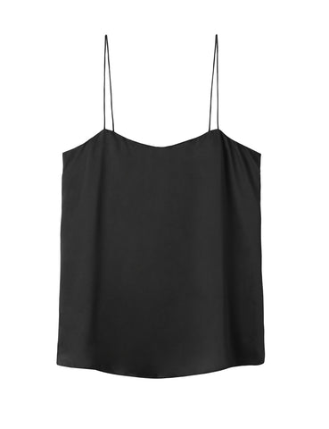 Relaxed Silk Camisole - black satin