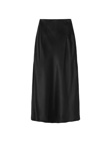 Silk Slip Skirt - Black Satin