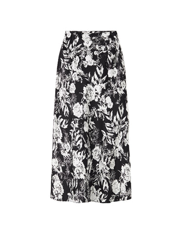 Silk Slip Skirt - Black Satin Hydrangea