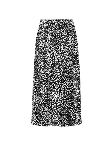 Silk Slip Skirt - Black Satin Leopard