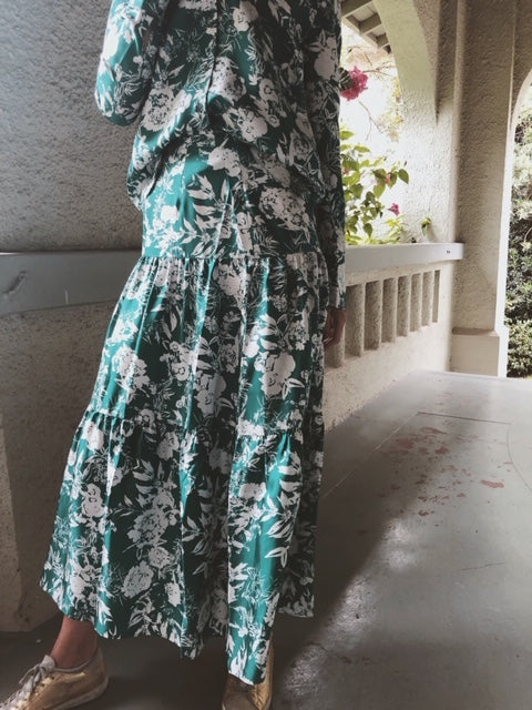 The Silk Tiered Maxi Skirt - Green Hydrangea