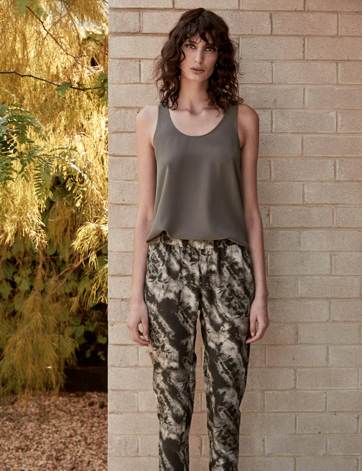 Silk Slouch Pant - Earth Tie Dye