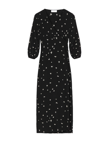 Silk Maxi Wrap Dress - Random Star