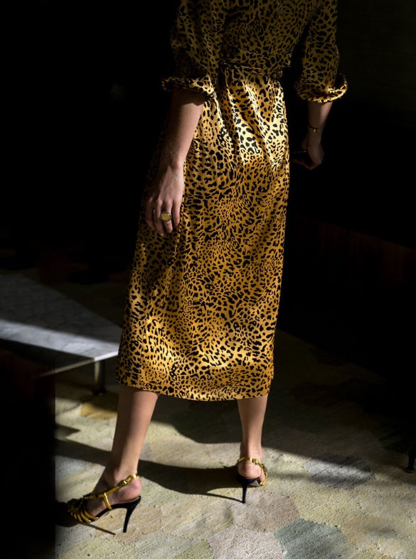 Silk Maxi Wrap Dress - Gold Satin New Leopard