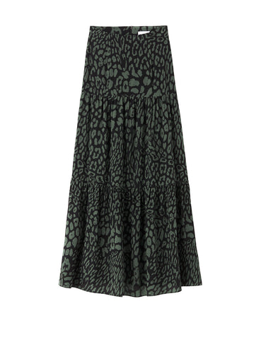 Silk Tiered Maxi Skirt - Green Leopard
