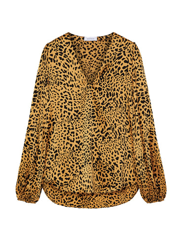 V Neck Silk Blouse - New Gold Leopard