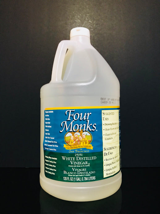 White Distilled Vinegar Four Monks 1 Gallon Diluted with water 5% Acidity