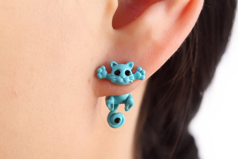 Light Blue Cute Cat Stud Earrings - My Loving Pets
