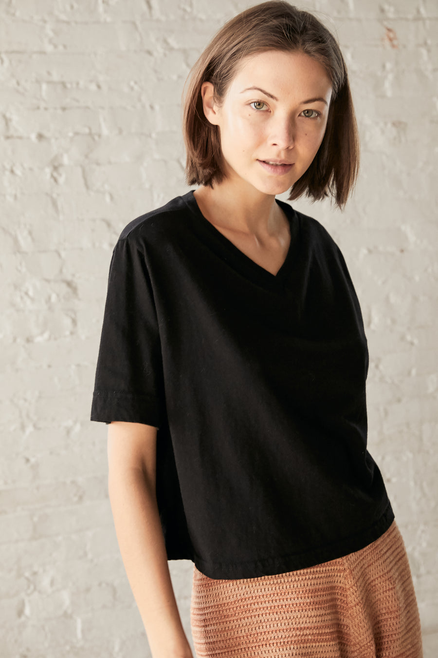 Easy Cropped Tee : Natural