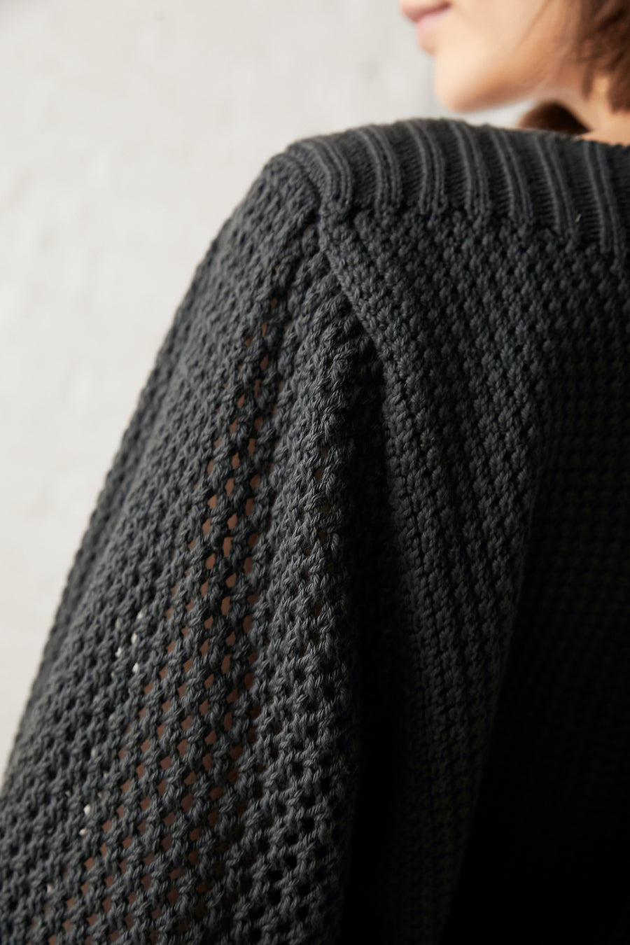 Boatneck Pullover : Washed Black