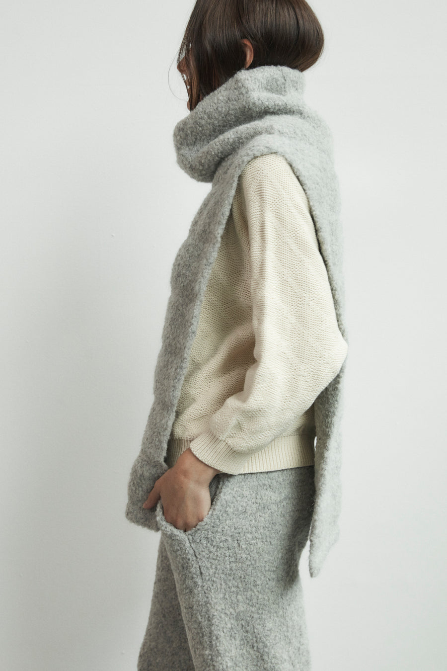 Quilted Poncho : Heather Grey
