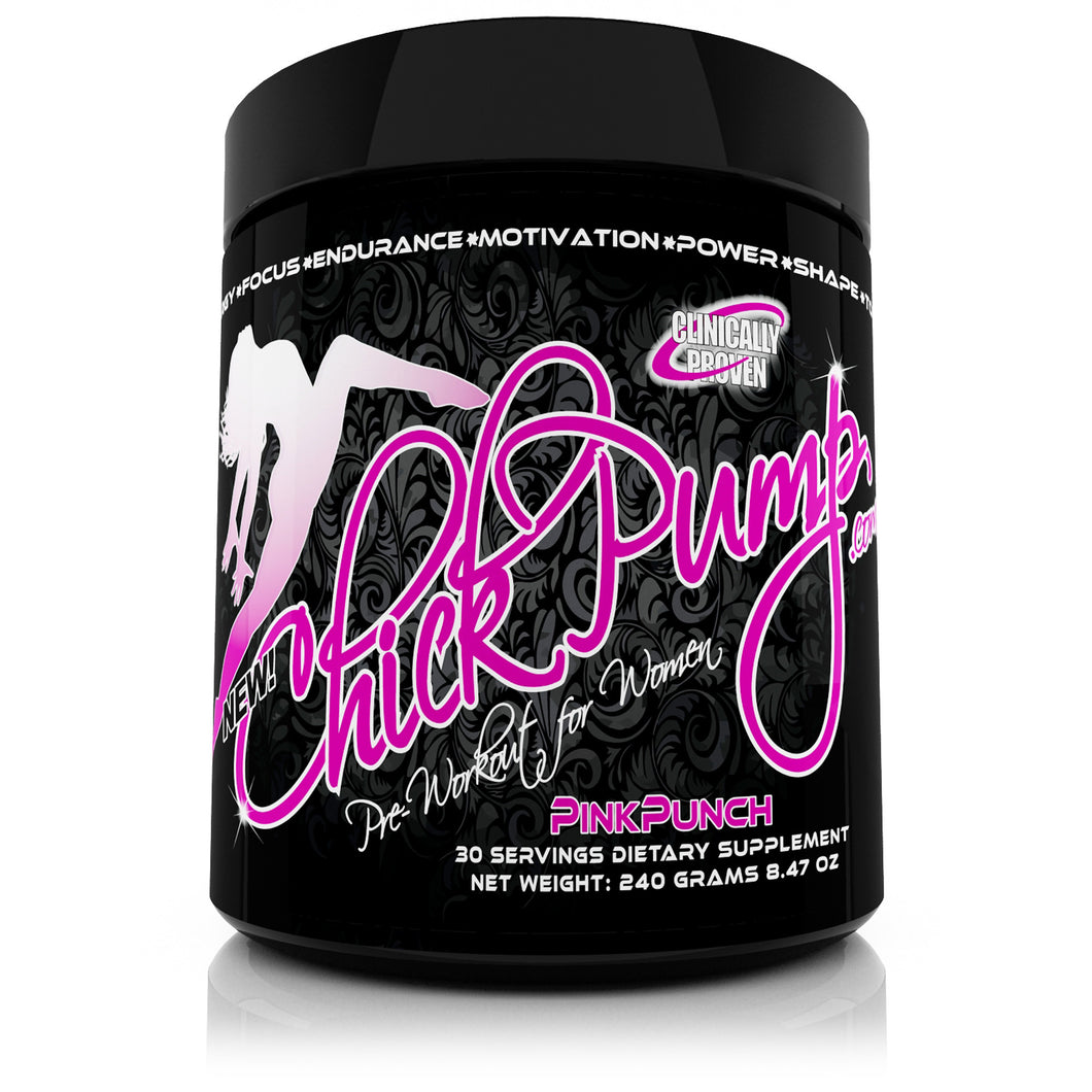 Chick Pump™ Pre Workout for Women - Pink Punch - 30 Servings - Enter code CHICK25 at checkout for 25% Off 2+ bottles! - ChickPump