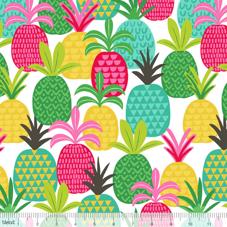 Pineapple Fields White Tutti Fruitti Cotton Fabric - Vera Fabrics
