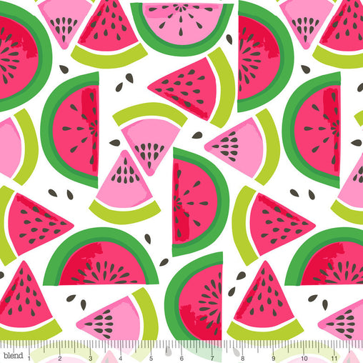 Watermelon Smash White Tutti Fruitti Cotton Fabric - Vera Fabrics
