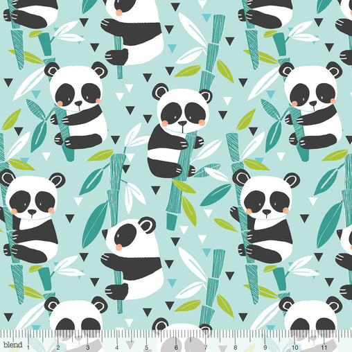 Bamboo Blue Panda-Rama on Bamboo Sticks Cotton Fabric - Vera Fabrics