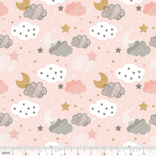 Starry Night Pink Sweet Dreams Moon, Stars & Clouds Cotton Fabric - Vera Fabrics