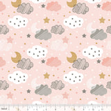 Starry Night Pink Sweet Dreams Moon, Stars & Clouds Cotton Fabric