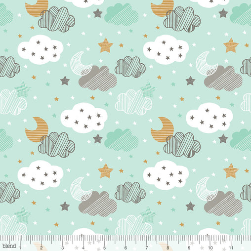 Starry Night Blue Sweet Dreams Moon, Stars & Clouds Cotton Fabric - Vera Fabrics