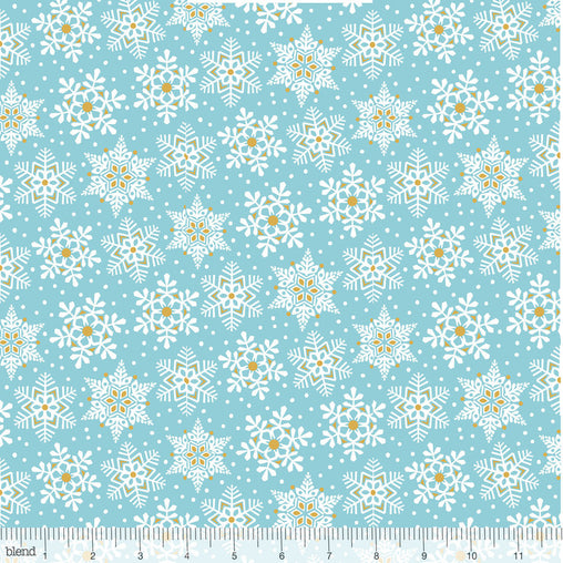 Land of Snow Snowflake Waltz Blue & Gold Christmas Cotton Fabric - Vera Fabrics