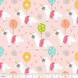 Calliope Carousel Pink Horses Funfair Balloons Cotton Fabric