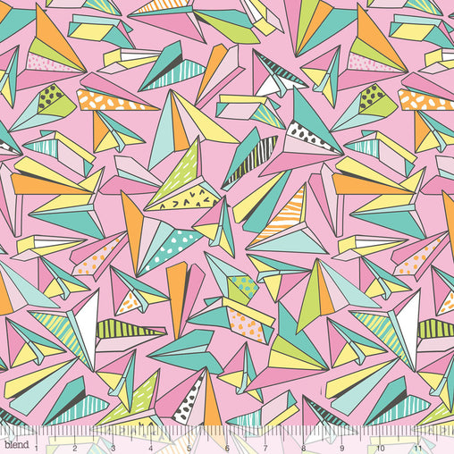 Origami Paper Planes Pink Pen & Paper Stationary Print Cotton Fabric - Vera Fabrics