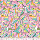 Origami Paper Planes Pink Pen & Paper Stationary Print Cotton Fabric