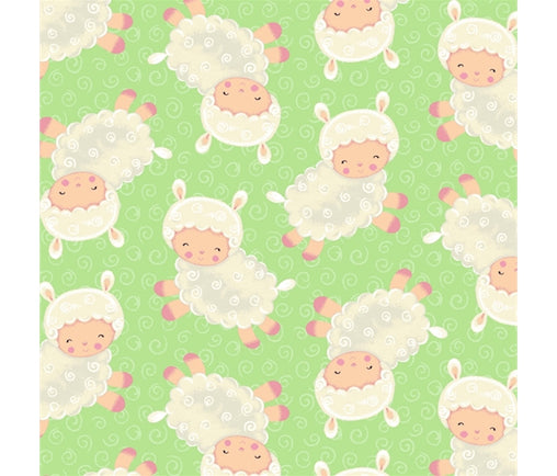 Baby Lambs on Green Spring Fling Animals Cotton Fabric - Vera Fabrics