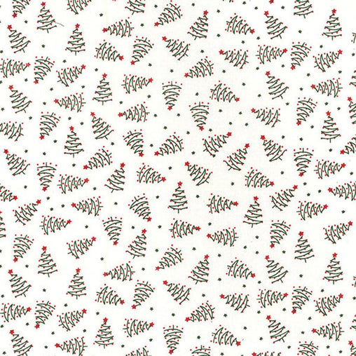 Christmas Trees Drawing Outlines Unique Xmas Vintage Traditional Design Fat Quarter 100% Cotton Fabric Sewing Craft