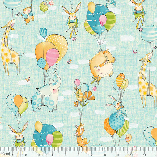 Hello World...Good Day Blue Fly Away Animals Balloons Cotton Fabric - Vera Fabrics