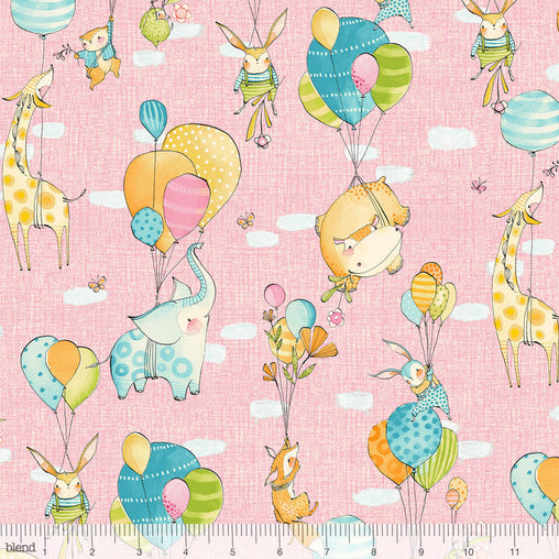 Hello World...Good Day Pink Fly Away Animals Balloons Cotton Fabric - Vera Fabrics