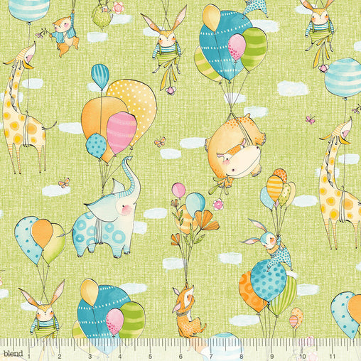 Hello World...Good Day Green Fly Away Animals Balloons Cotton Fabric - Vera Fabrics