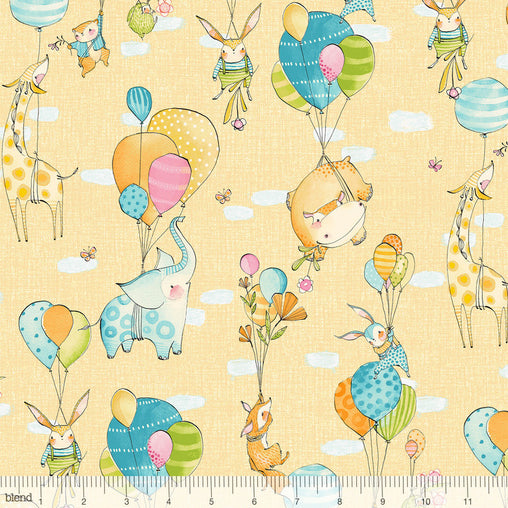 Hello World...Good Day Yellow Fly Away Animals Balloons Cotton Fabric - Vera Fabrics