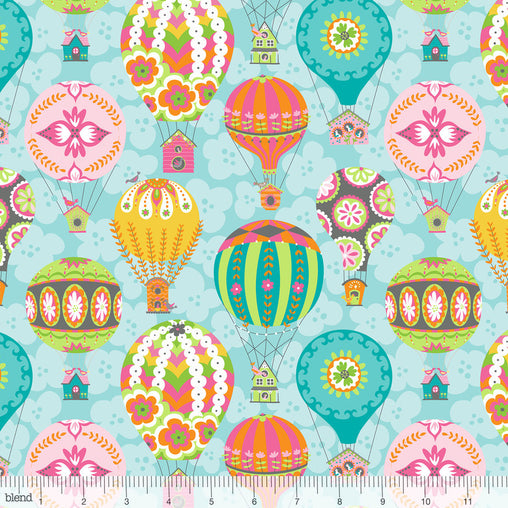 Float Blue Air Balloons Flutter & Float Cotton Fabric - Vera Fabrics