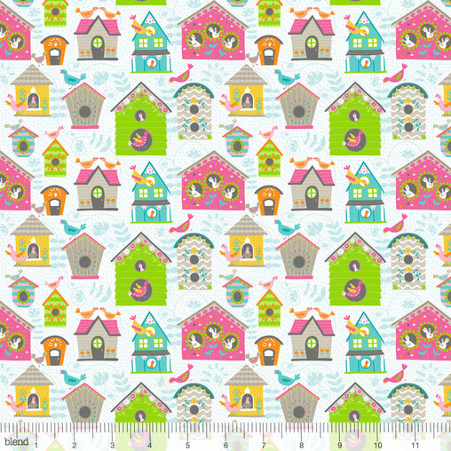 Tweet Tweet White Flutter & Float Cotton Fabric - Vera Fabrics