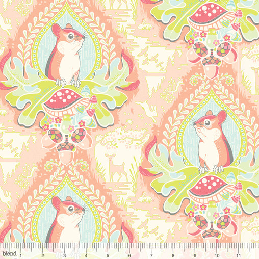 Morning Glen Peach Squirrel Animals Haven Cotton Fabric - Vera Fabrics