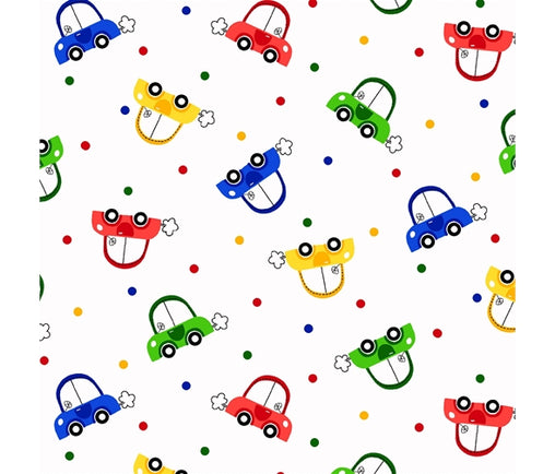 Colourful Baby Toy Cars Cotton Fabric - Vera Fabrics