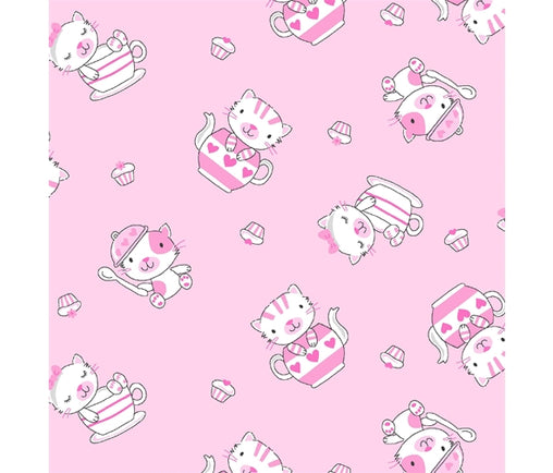 Pink Baby Kittens in Teapots & Cupcakes Cotton Fabric - Vera Fabrics