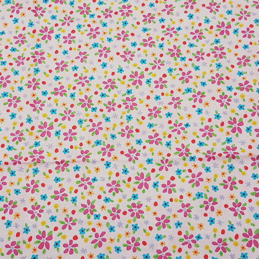 Festive Garden Flowers Pink - 100% Cotton Fabric Fat Quarter - Vera Fabrics