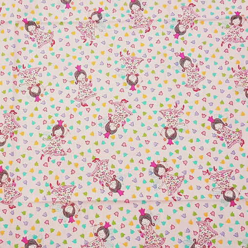 Fairy in Flowers Pink - 100% Cotton Fabric Fat Quarter - Vera Fabrics