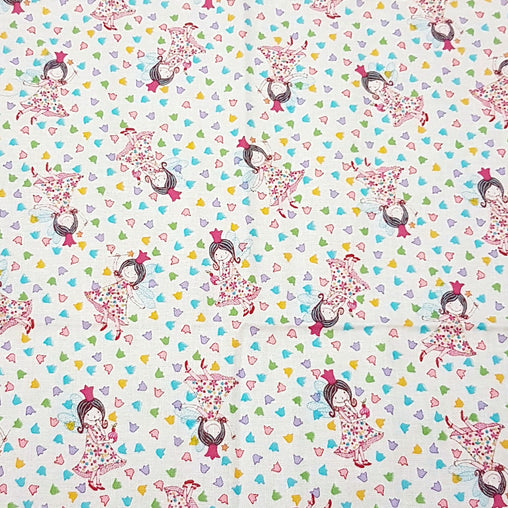 Fairy in Flowers Ivory - 100% Cotton Fabric Fat Quarter - Vera Fabrics